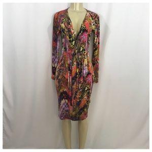 Multi Color V Neck Midi Dress